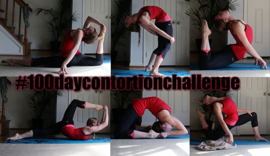 stretches to become a contortionist