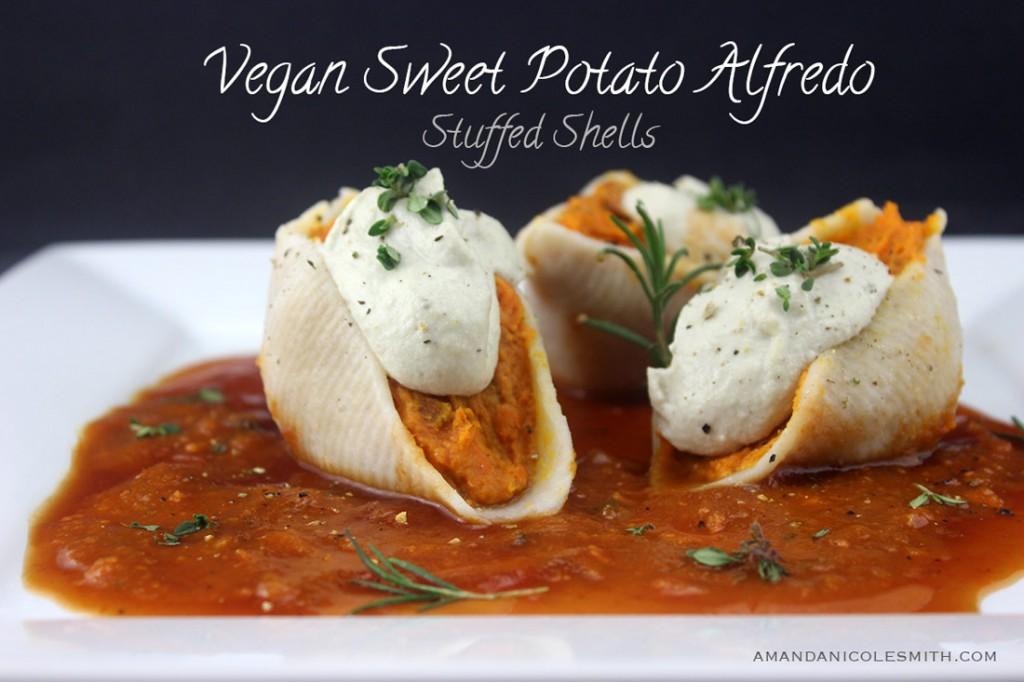 Vegan Sweet Potato Alfredo Stuffed Shells | Amanda Nicole Smith