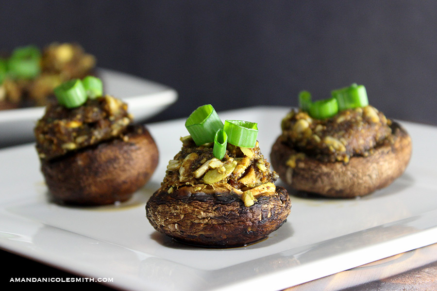 Raw Vegan Stuffed Mushrooms