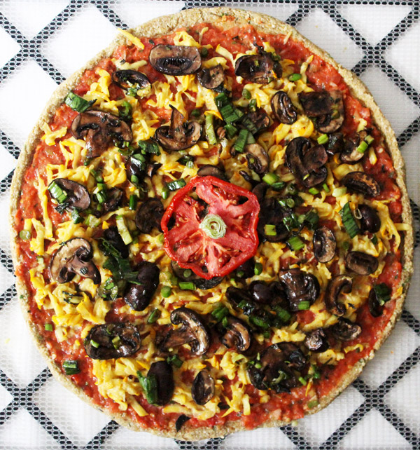 Raw Vegan Pizza with Zucchini Cheese
