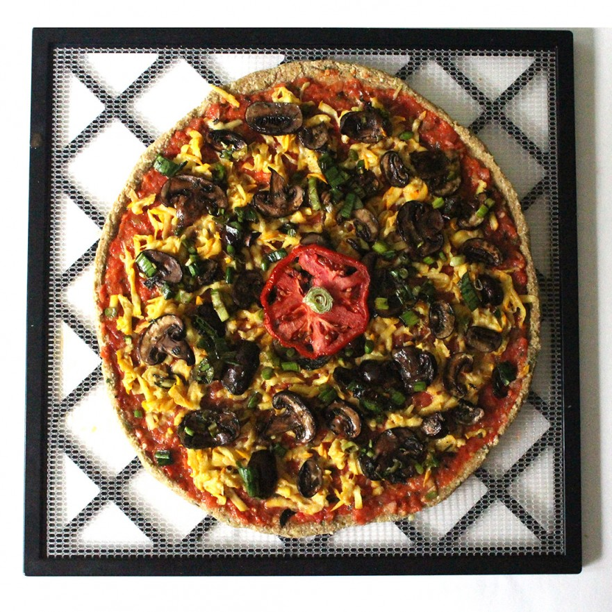 Raw Vegan Pizza with Zucchini Cheese