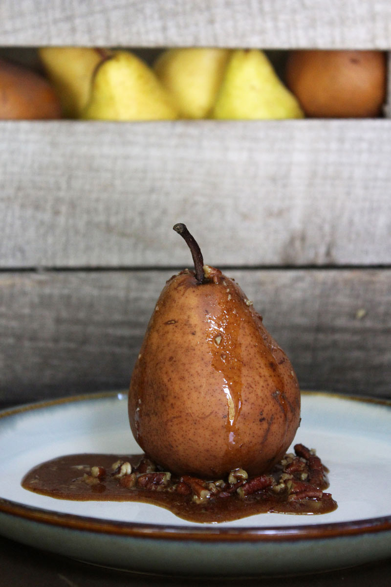 Dehydrated Pears with Maple Pecan Sauce