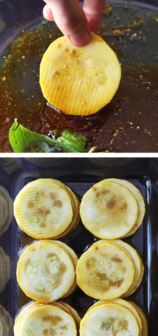 Marinating Hickory Zucchini Slices