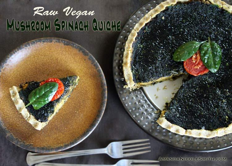 Raw Vegan Mushroom Spinach Quiche