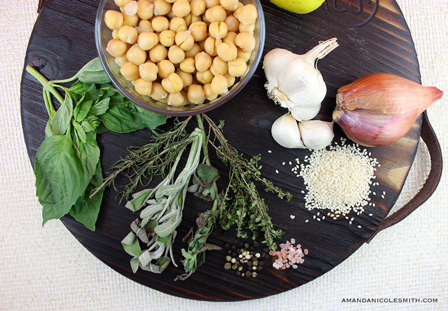 Chunky Garlic & Herb Hummus Ingredients