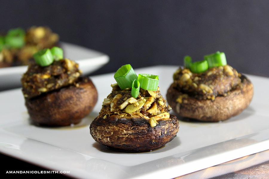Raw Vegan Stuffed Mushrooms