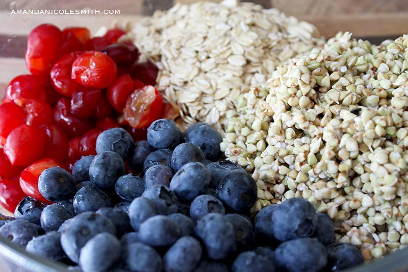 Sprouted Blueberry Cherry Granola Bar Ingredients