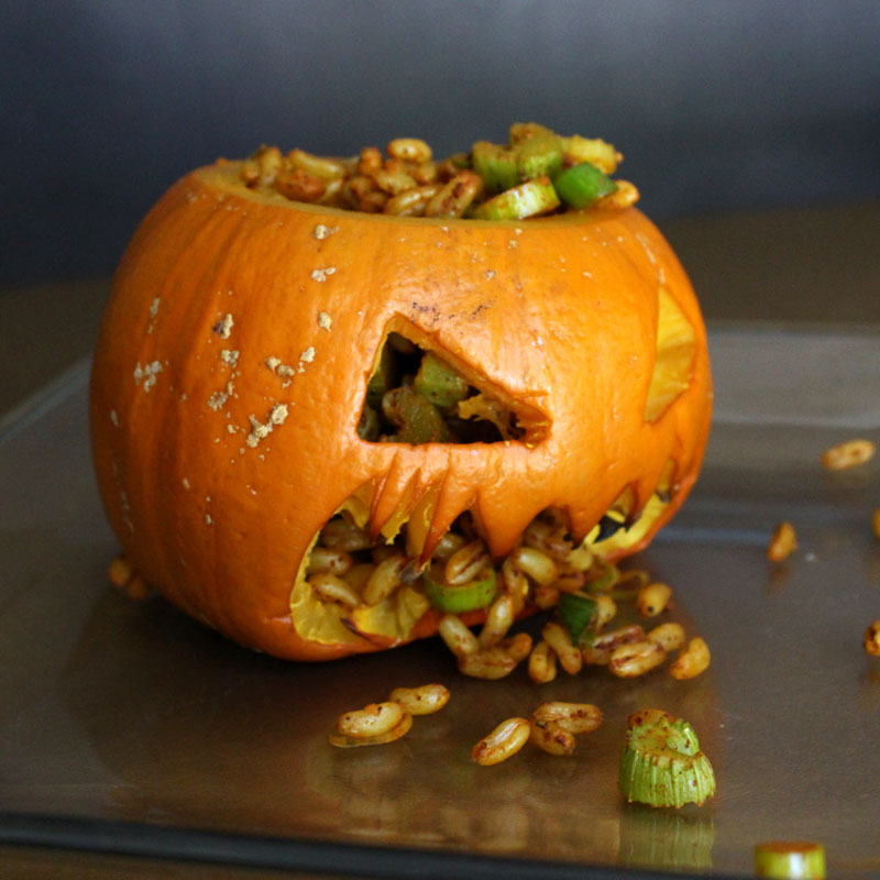 Scary Halloween Pumpkin Bowl with Maggots