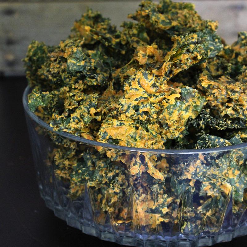 Raw Vegan Cheesy Kale Chips