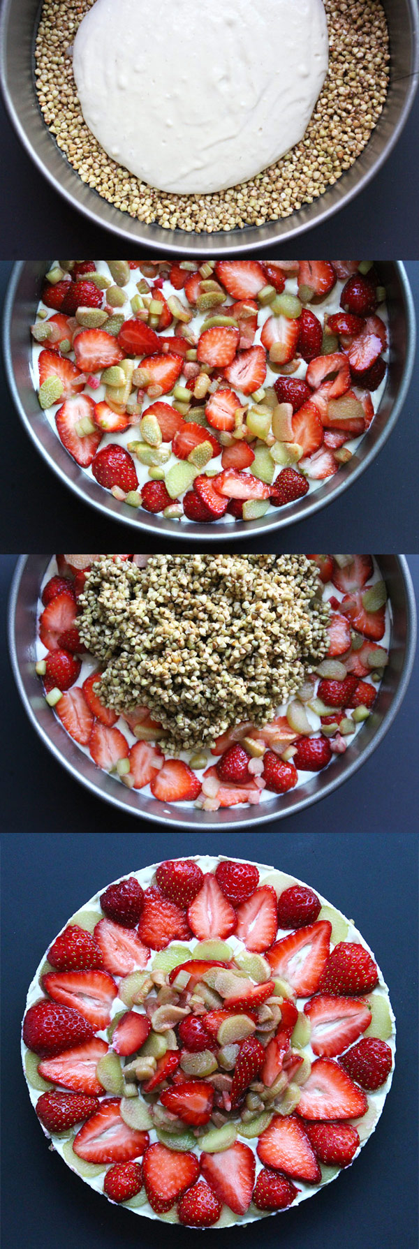 Strawberry Rhubarb Crispy Cream Cake