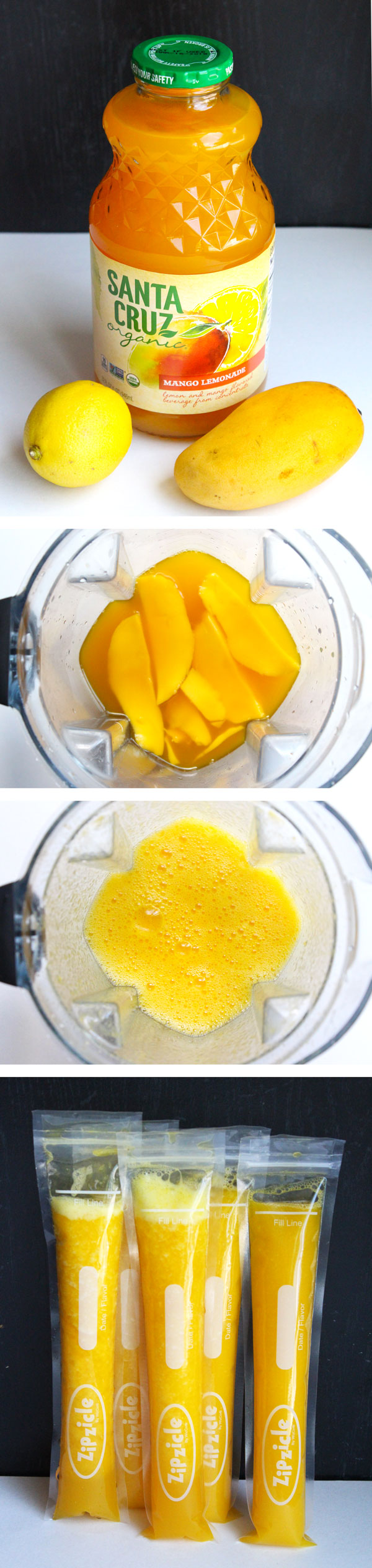 Homemade Mango Lemonade Ice Pops